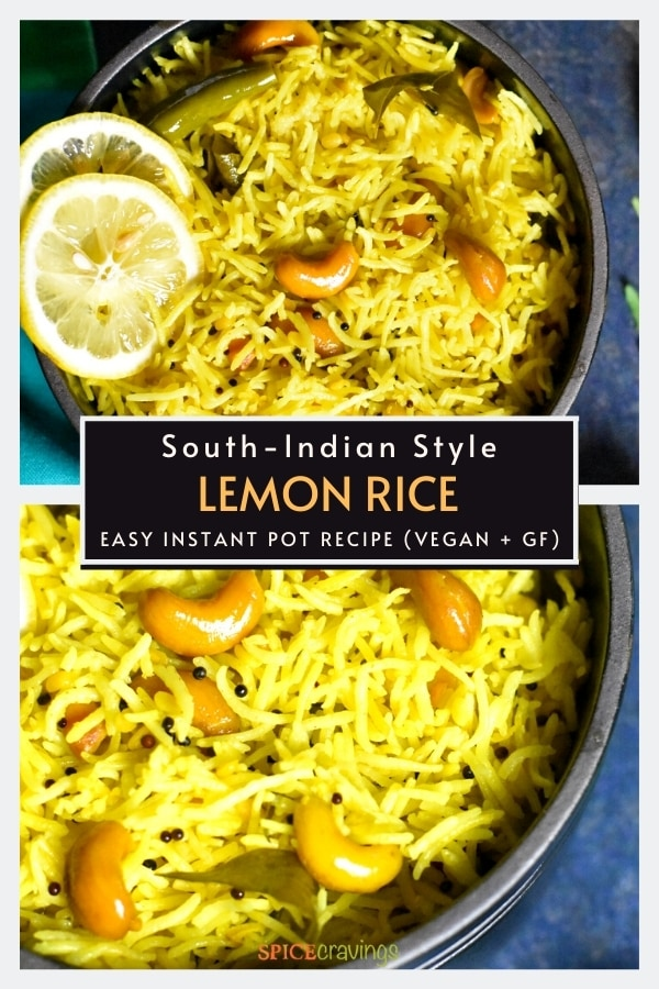 Two frames of lemon rice with mustard and curry leaves
