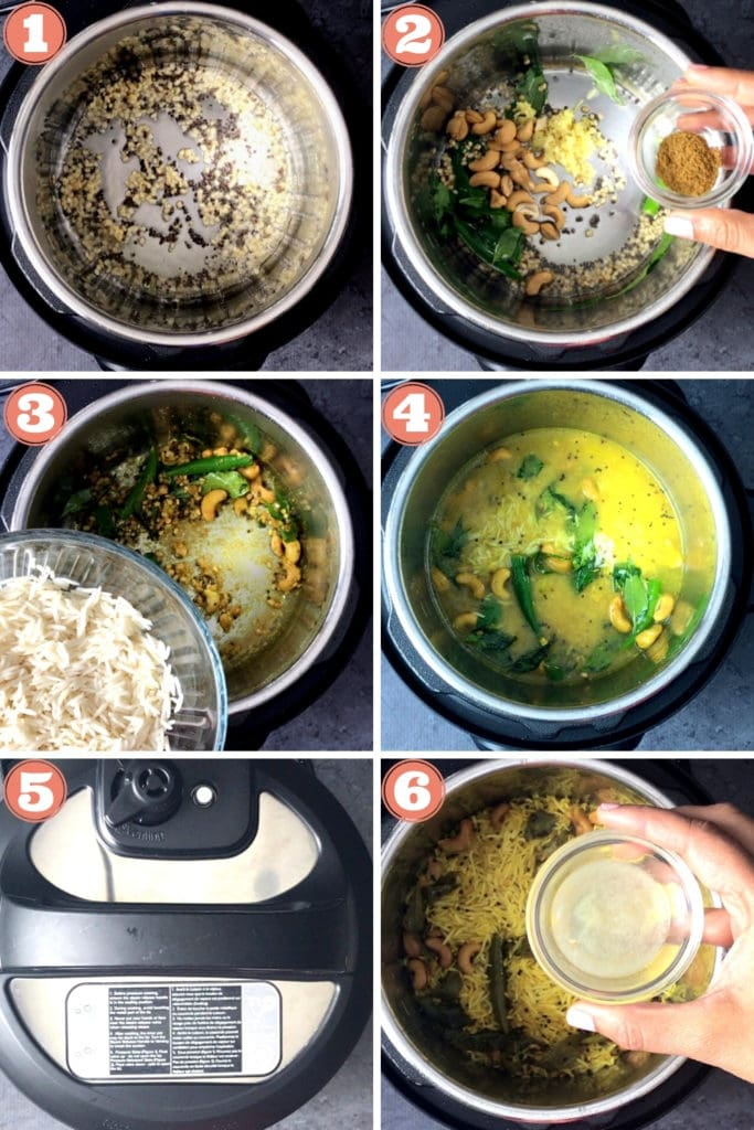 Step by step 6-photo grid showing how to make lemon rice in an instant pot