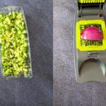 Chopping cucumber on vegetable chopper
