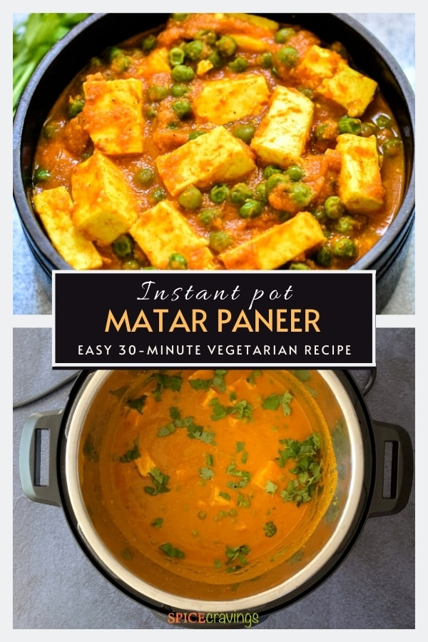 paneer and pea curry in black bowl, finished matar paneer garnished with cilantro in instant pot