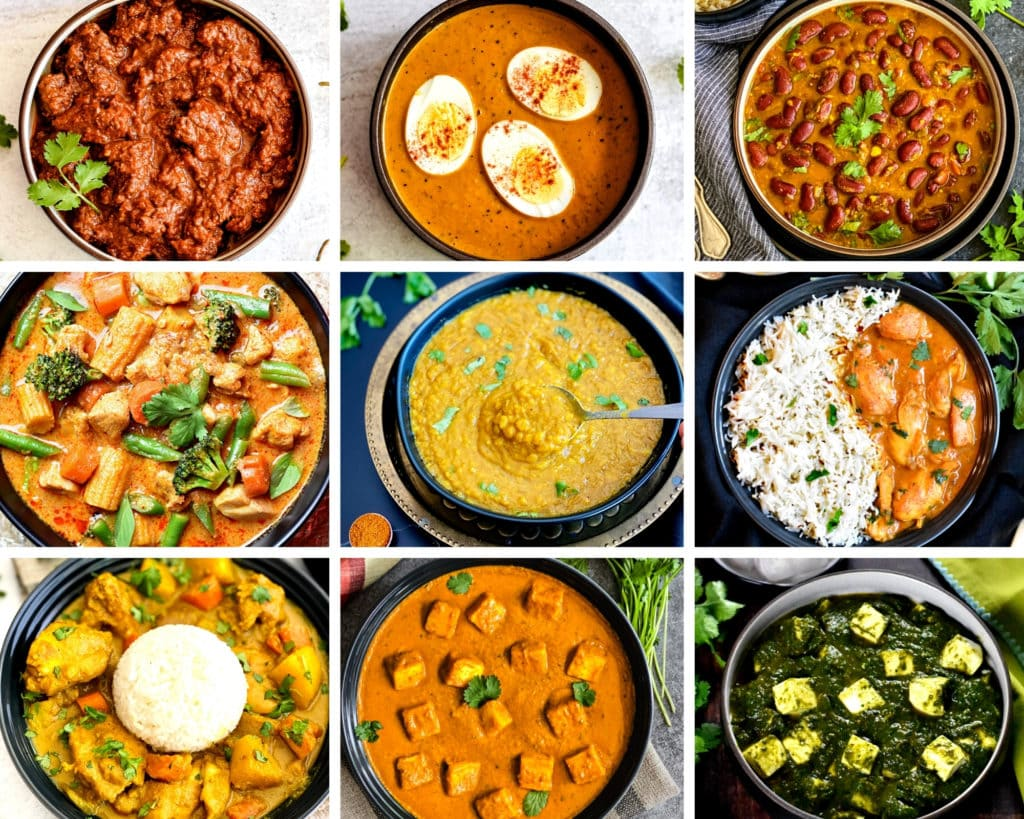 A grid showing nine photos of different curries