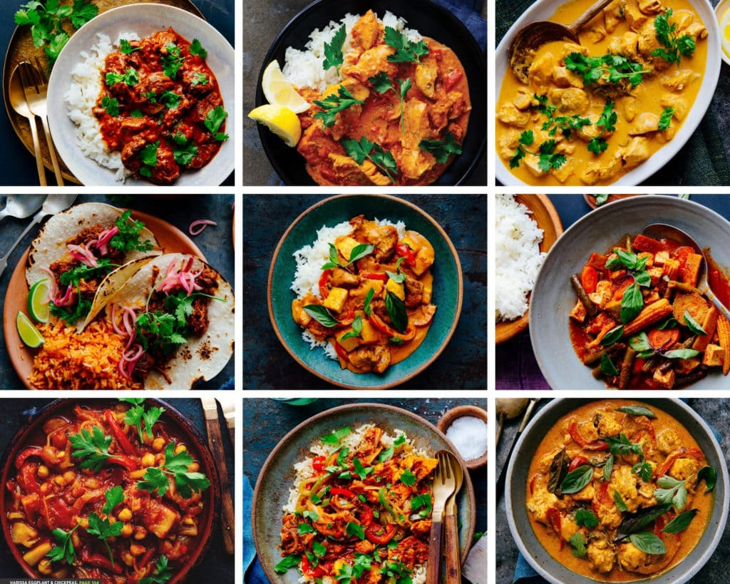 A nine-photo grid showing pictures of curries
