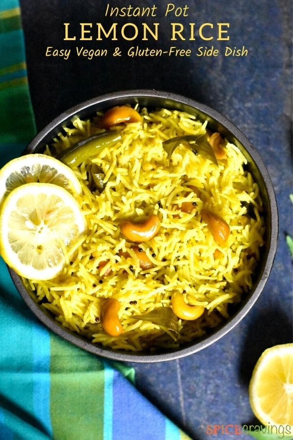 Lemon rice bowl garnished with lemon wedges