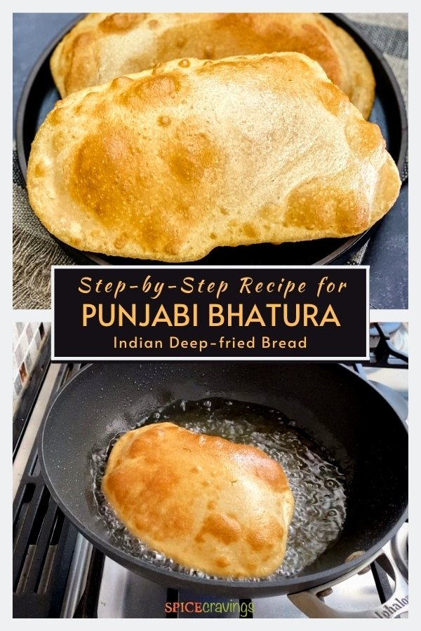 two pieces indian fry bread on black plate and frying in oil
