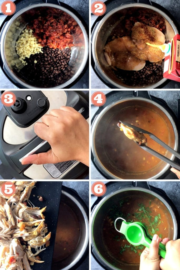grid photo of step by step instructions for chicken tortilla soup in the instant pot