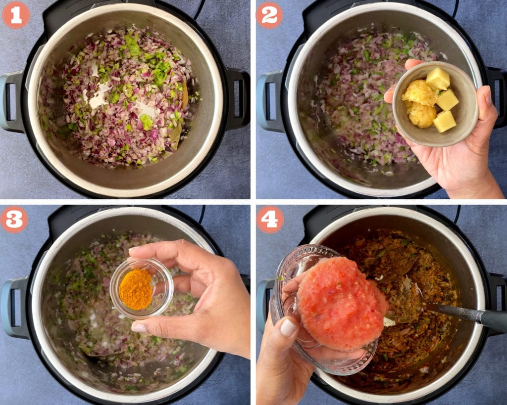 four step grid beginning steps for keema recipe