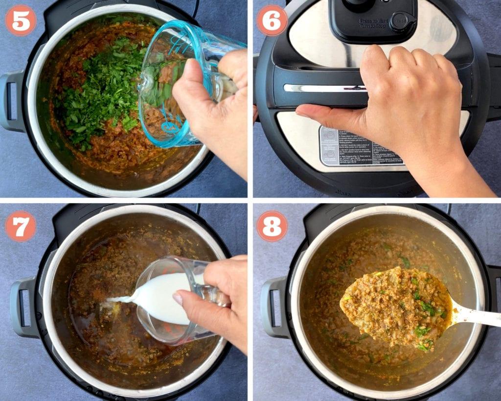 four step grid photo for finishing keema recipe