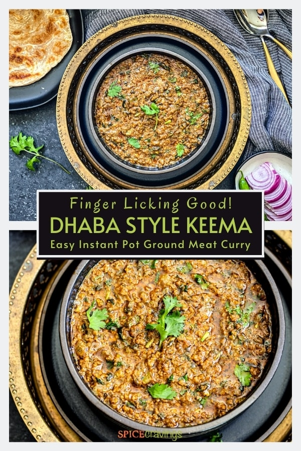 dhaba style keema in black bowl garnished with cilantro sprigs