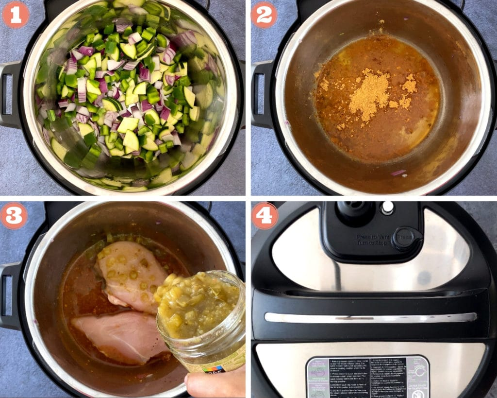 four grid photo of steps for green chicken enchilada filling