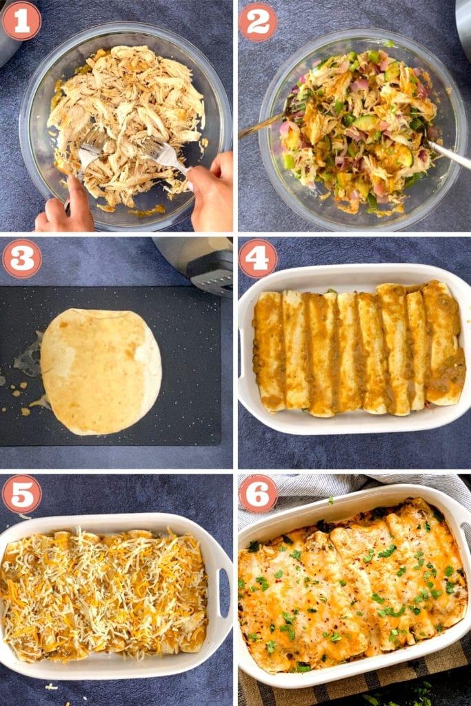 six grid shot of assembling salsa verde chicken enchiladas