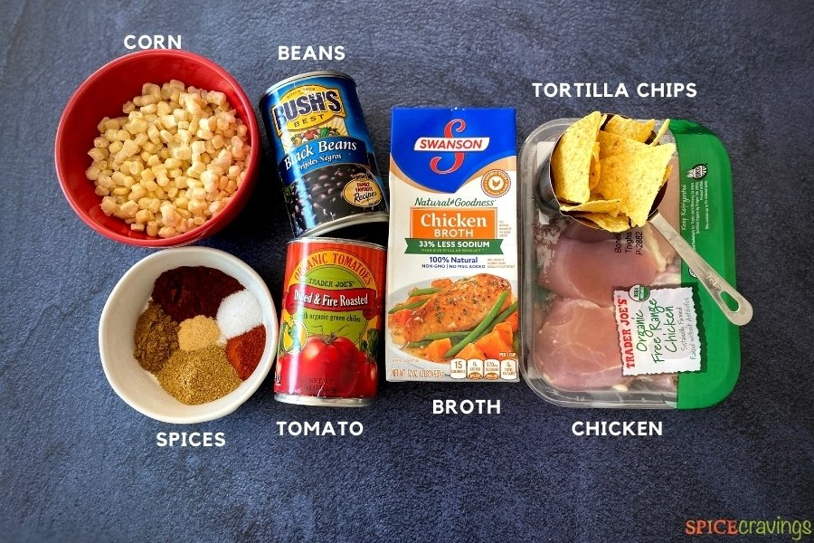 corn, ground Mexican spices, canned tomatoes, canned black beans, chicken broth, chicken, tortilla chips