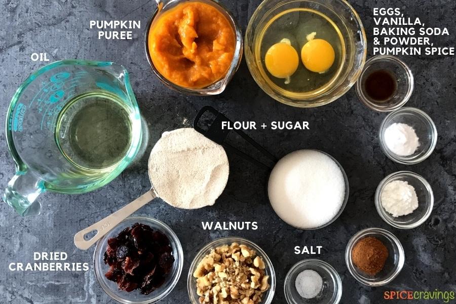 olive oil, pumpkin puree, eggs, sugar, whole wheat flour, craisins walnuts, salt, pumpkin pie spice