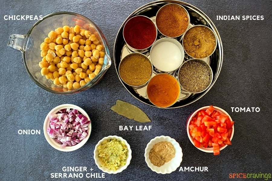 chickpeas, chopped onions, ginger, amchur, bay leaf, tomatoes, Indian spices