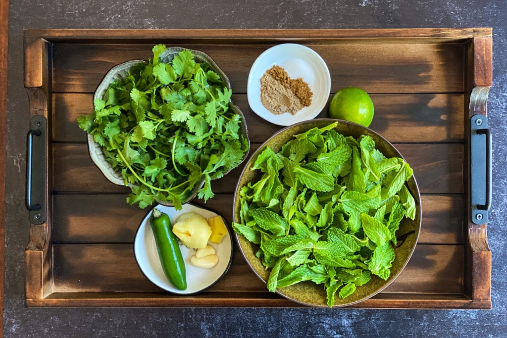 fresh cilantro, fresh mint, green chile, ginger, garlic, Indian spices, lime