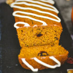 moist pumpkin bread recipe sliced with sugar icing