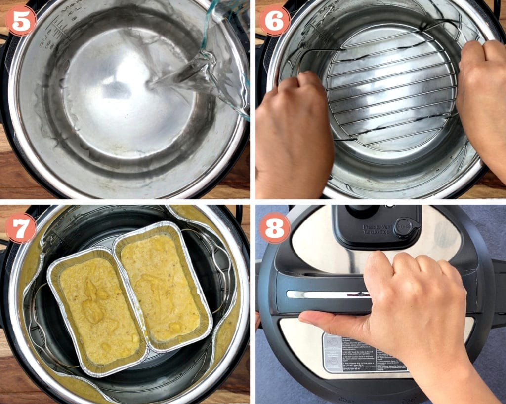 four step grid for steps to make cornbread in instant pot
