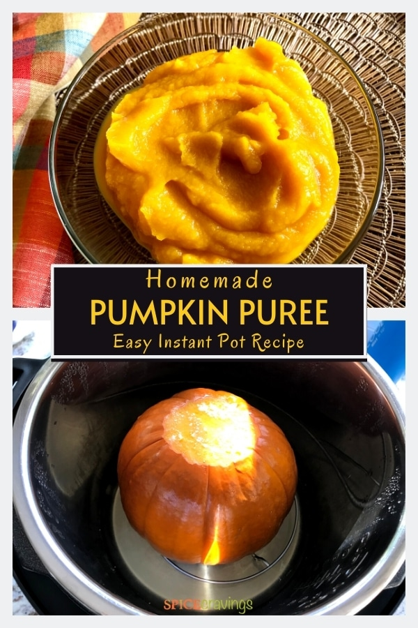 pumpkin puree in bowl, sugar pumpkin in instant pot