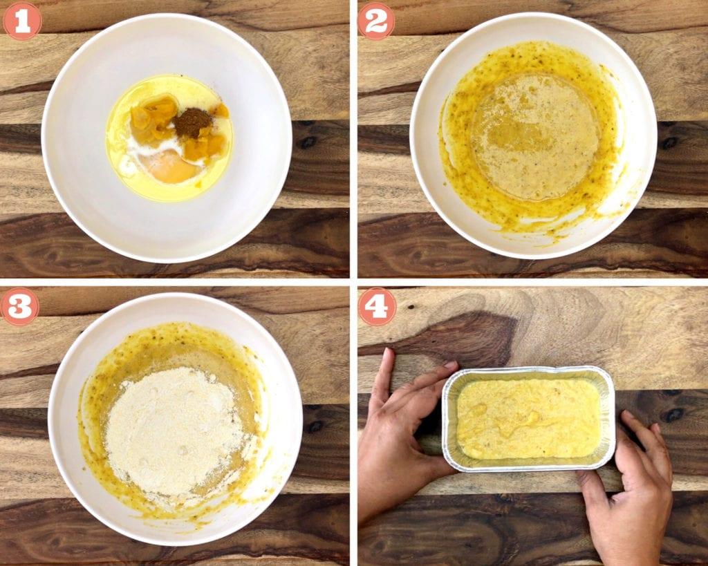 four step grid for steps to make pumpkin cornbread batter