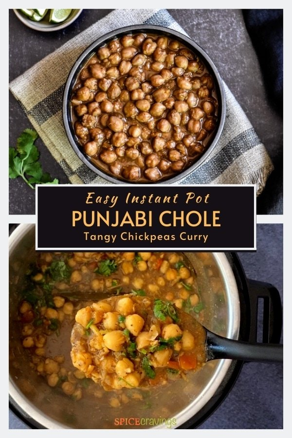 easy chickpea curry in black bowl and ladleful in instant pot