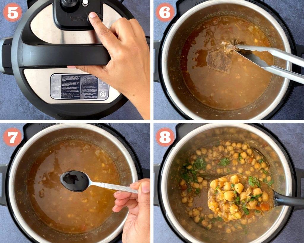 four step grid for punjabi chole recipe