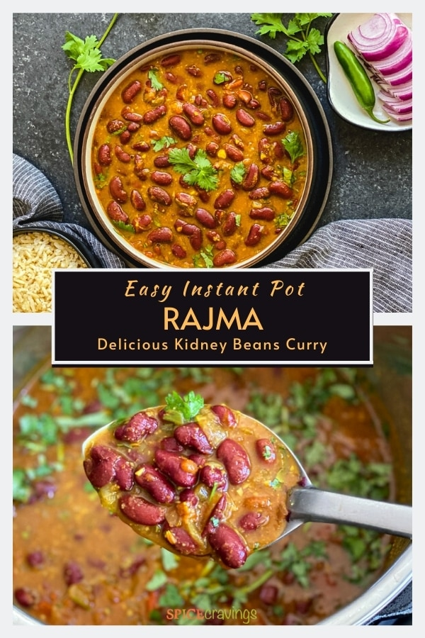 Top shot of rajma curry in a nowl, bottom shot of rajma in a ladle