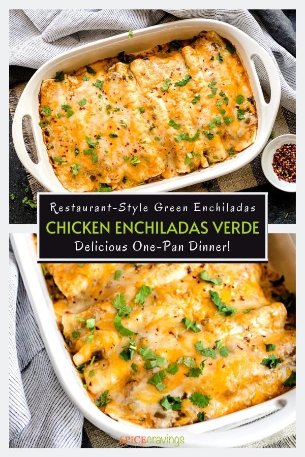 baked salsa verde chicken enchiladas in white casserole dish