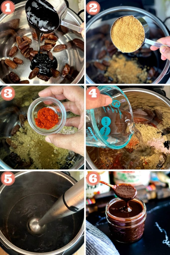 Step showing how to add ingredients and cook chutney in an Instant Pot