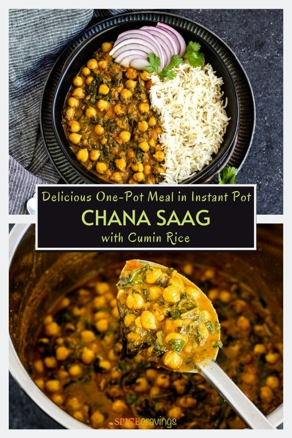 chickpea and spinach curry with cumin rice in black bowl and in instant pot
