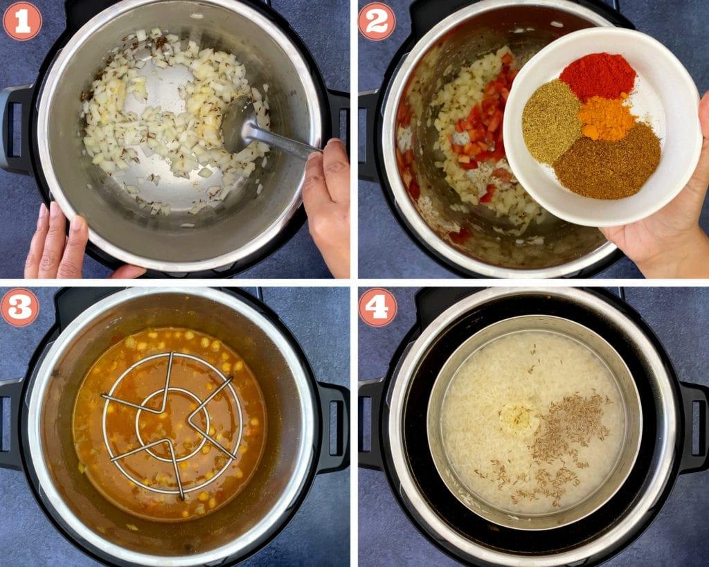 four step grid beginning chana saag recipe