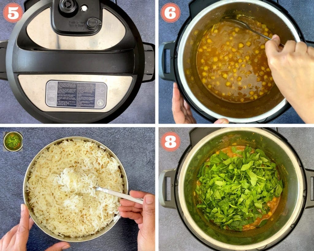 four step grid finishing chana saag recipe