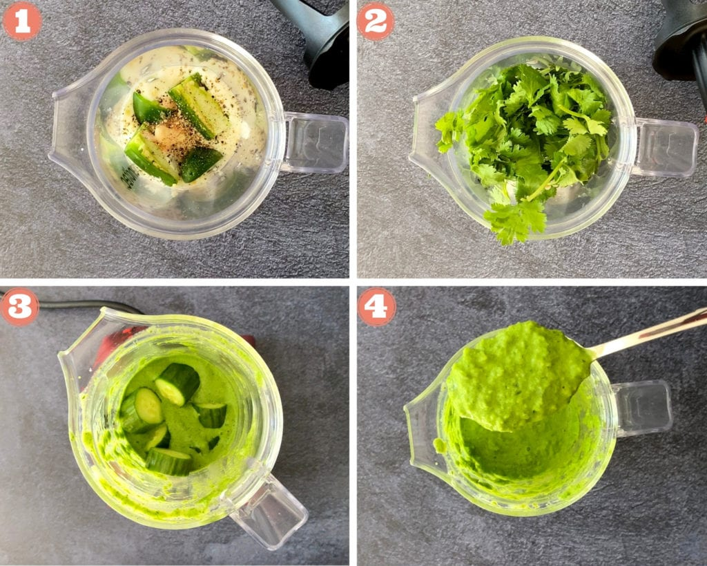 four step grid for making cilantro jalapeno blender sauce