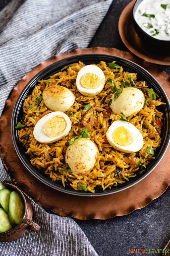 egg biryani in black bowl