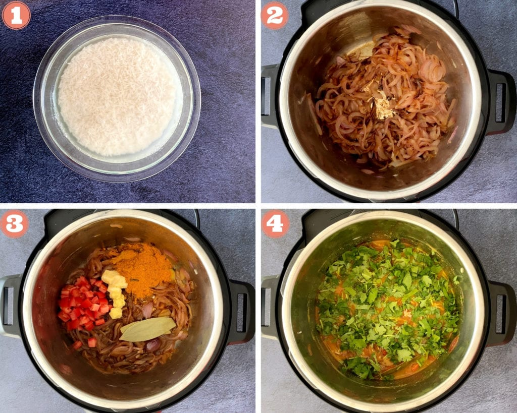 four step grid beginning egg biryani in instant pot