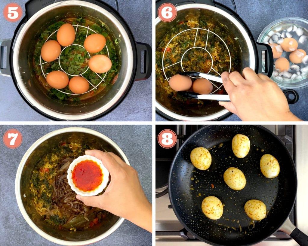 four step grid finishing egg biryani in instant pot