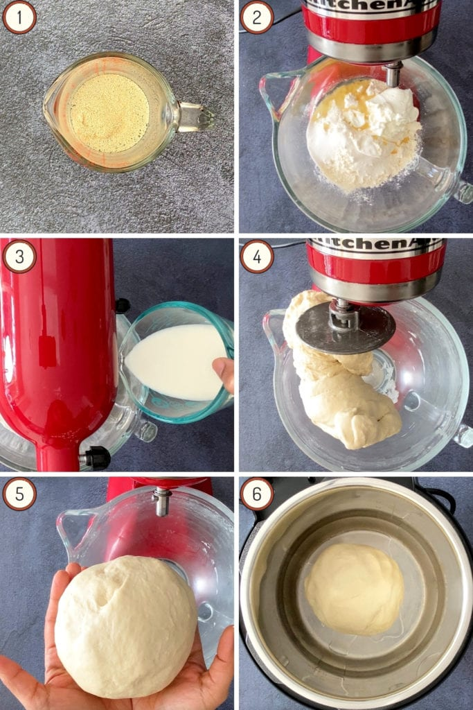 six step grid for making homemade naan bread