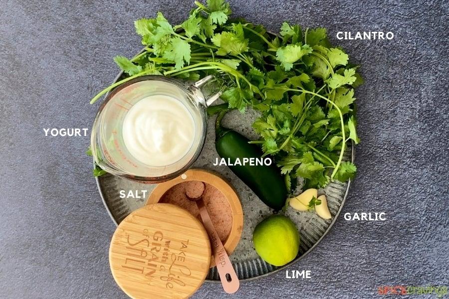yogurt, cilantro, jalapeno, garlic, lime, salt