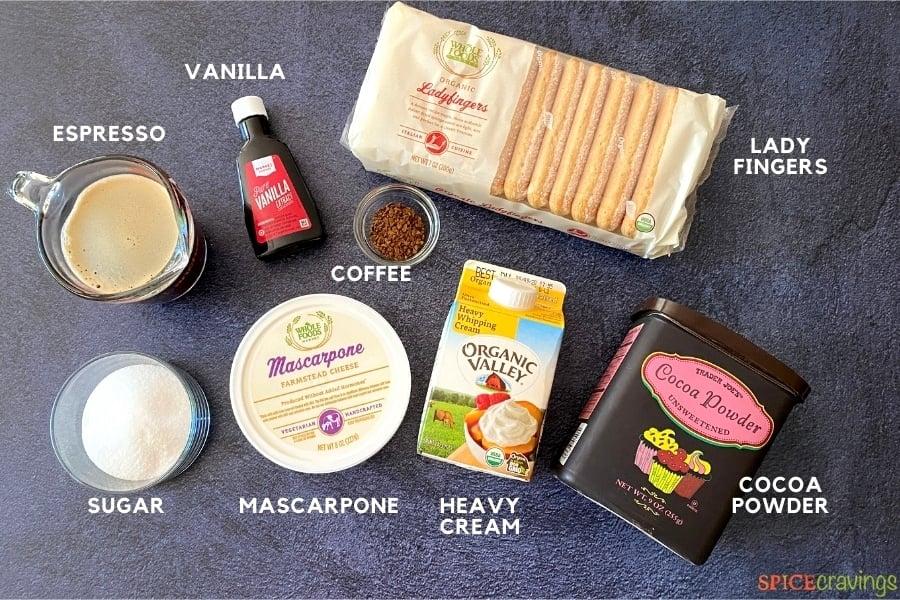 espresso, vanilla, ladyfingers, cocoa powder, heavy cream, mascarpone, instant coffee, sugar