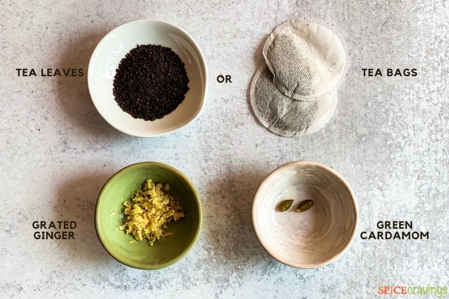 Ingredients needed to make Indian style tea
