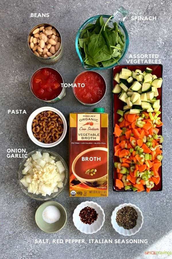 white beans, spinach, pasta, diced vegetables, canned tomatoes, vegetable broth, onions and garlic, salt, pepper, Italian seasoning