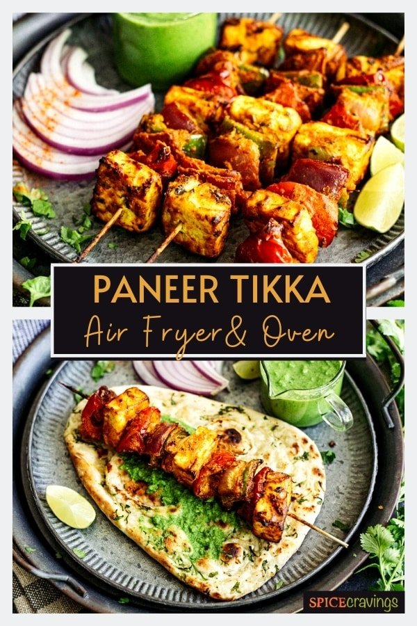 three skewers of paneer tikka on black plate with chutney and onions on side, paneer skewer on naan bread