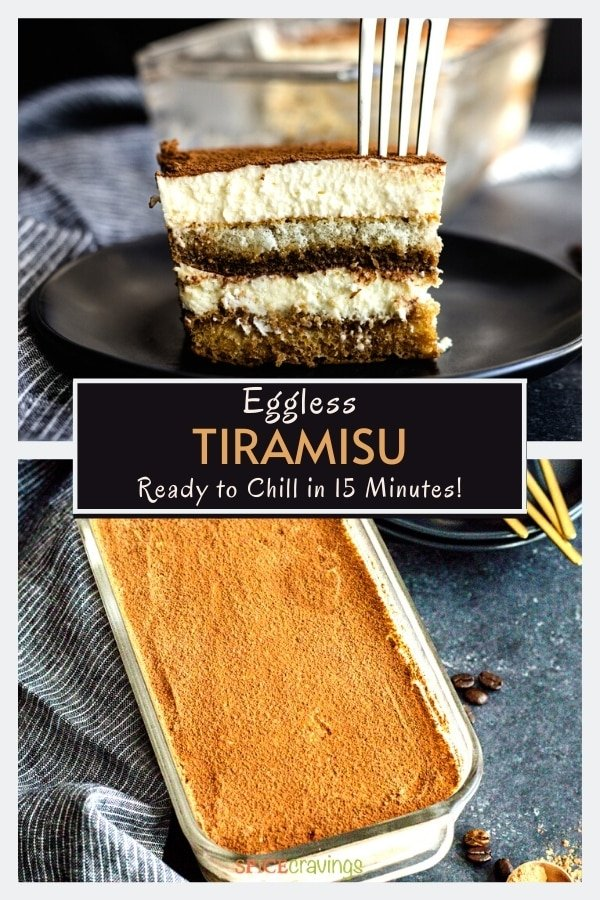 slice of easy tiramisu recipe on black plate and in loaf pan