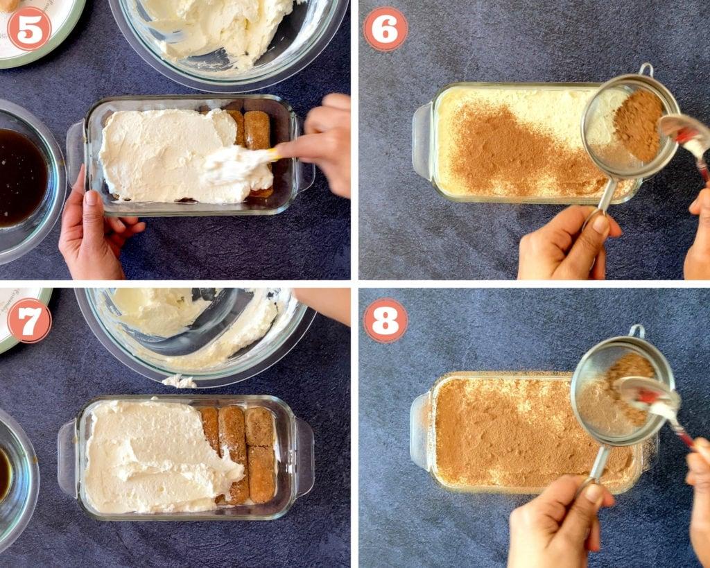 four step grid finishing assembling eggless tiramisu in loaf pan