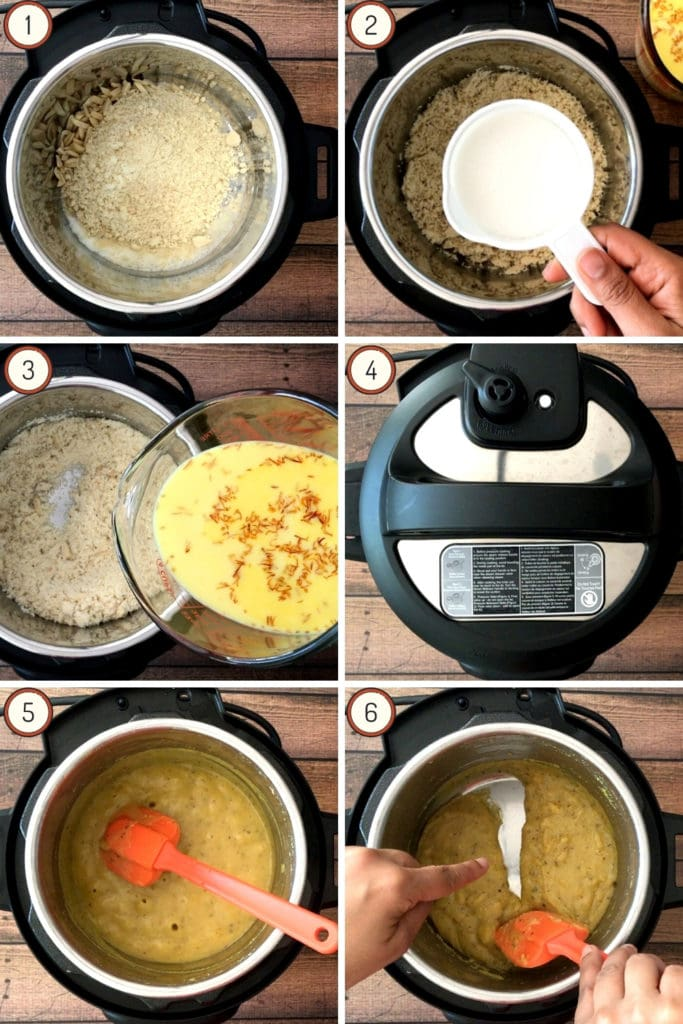 6 steps showing how to pressure cook badam halwa