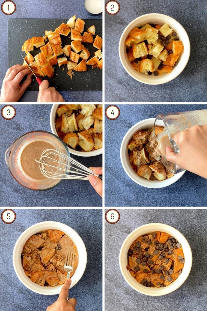 Instructions for chocolate bread pudding