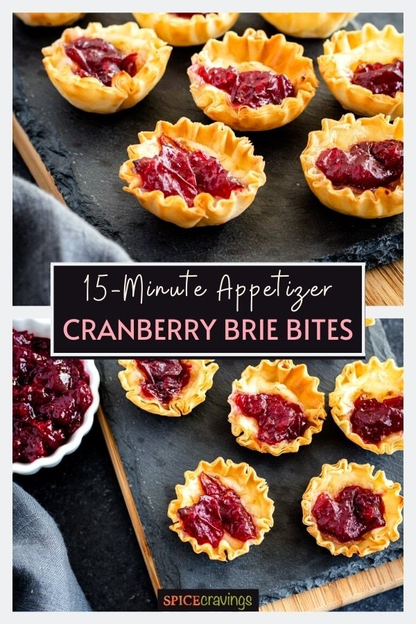 Cranberry brie bites on a tray next to a bowl of cranberry sauce