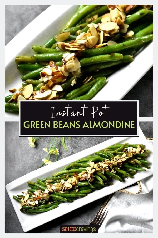 Pinterest image of two plates with green beans and almonds