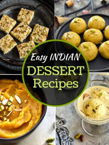 4-photo grid of Indian desserts including ladoo, kalakand, halwa and rasmalai