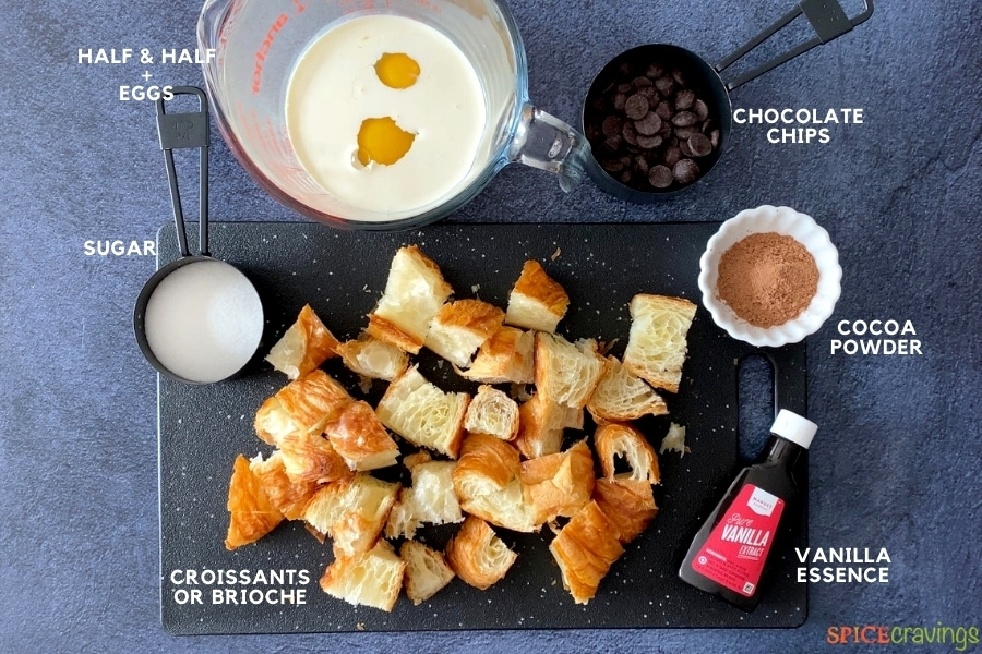 Ingredients for chocolate pudding on a counter