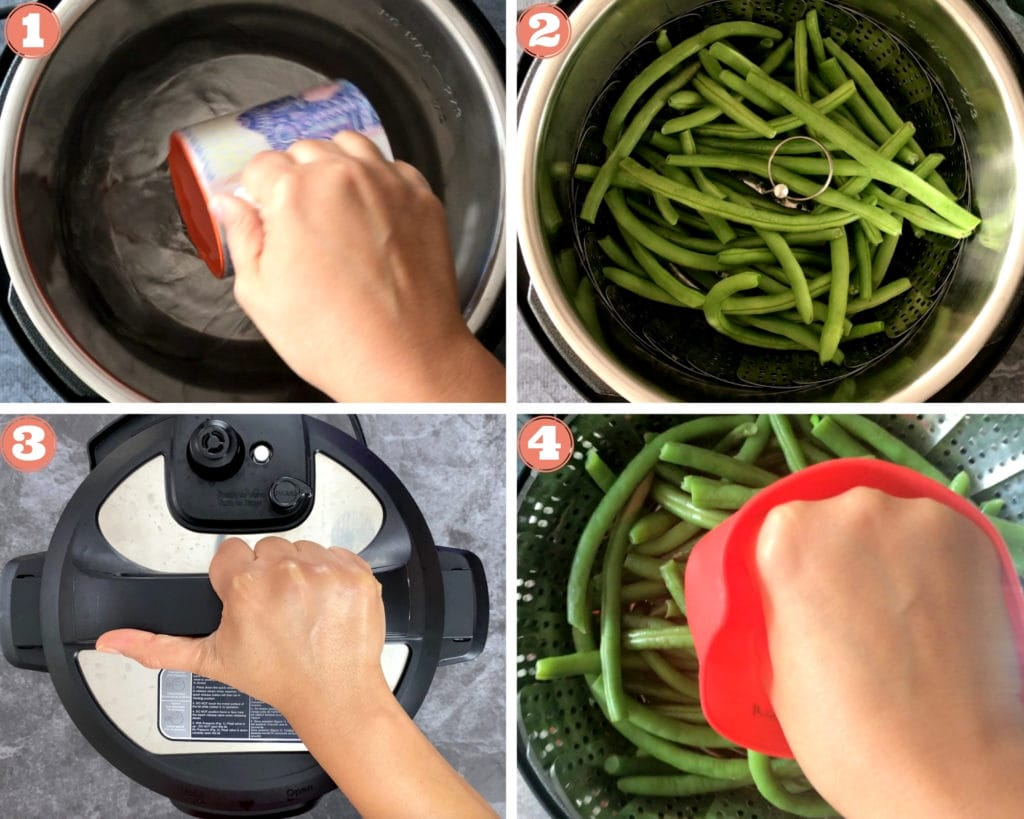 4-steps showing steaming process of green beans in instant pot