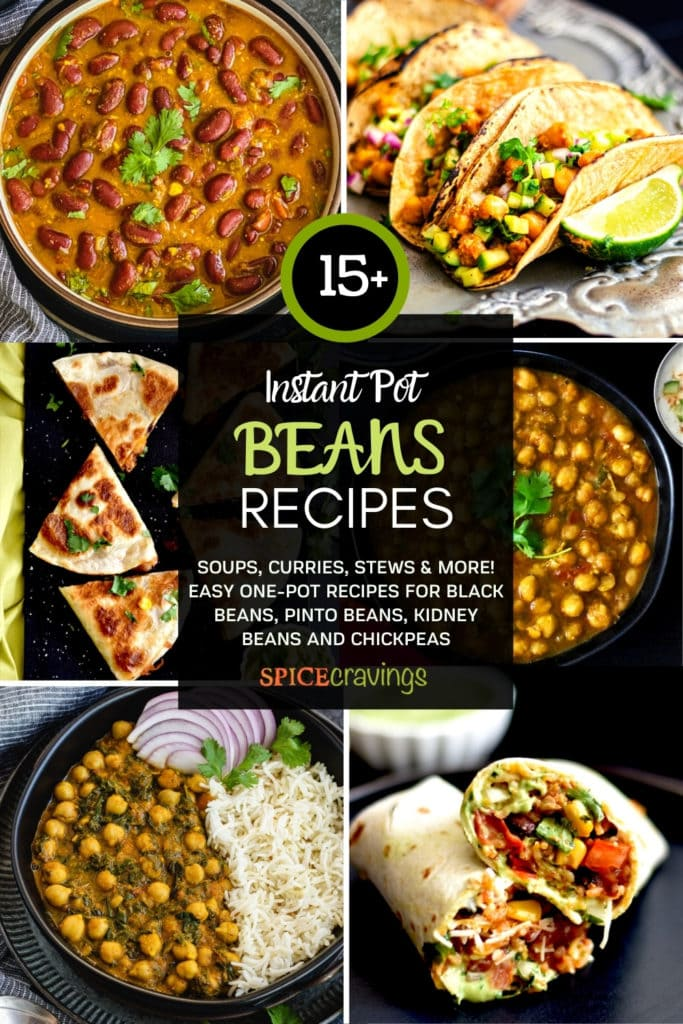 A six-grid recipe collection with beans, chickpeas, quesadillas, tacos and more